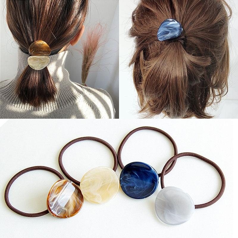LNRRABC Elegant 1PC Girls Elastic Hair Bands Women Marble Vein Acrylic Hair Rope Ponytail Holder Hair Ties Hair Accessories