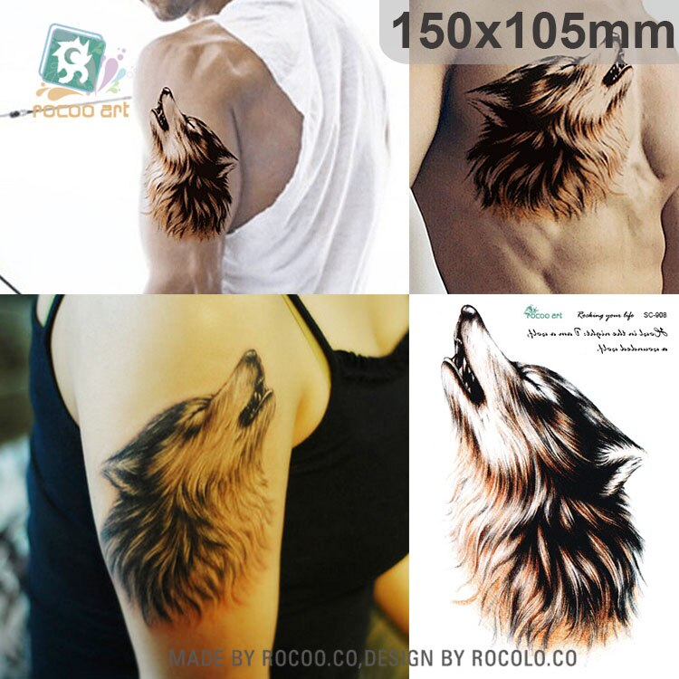 SC-908/grande 3D dibujo Horrible Lobo aúlla marrón cabeza diseños Cool pecho cuerpo arte tatuajes temporales tatuajes falsos grandes