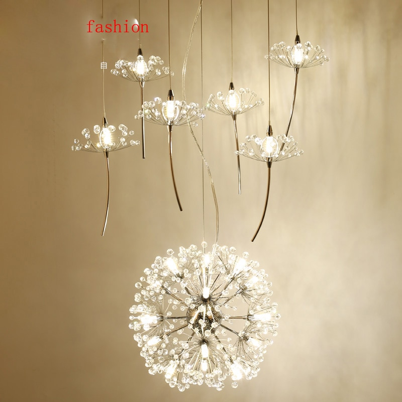 Z Northern Europe Crystal Chandelier Dandelion Shape Design Compound Floor Ceiling Fan Couture Restaurant Light Lighting Fixture