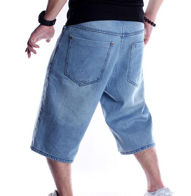 Mens בתוספת גודל Loose בבאגי ג 'ינס קצר גברים ג' ינס אופנה Streetwear היפ הופ ארוך 3/4 קאפרי מכנסיים קצרים מטען כיס זכר כחול
