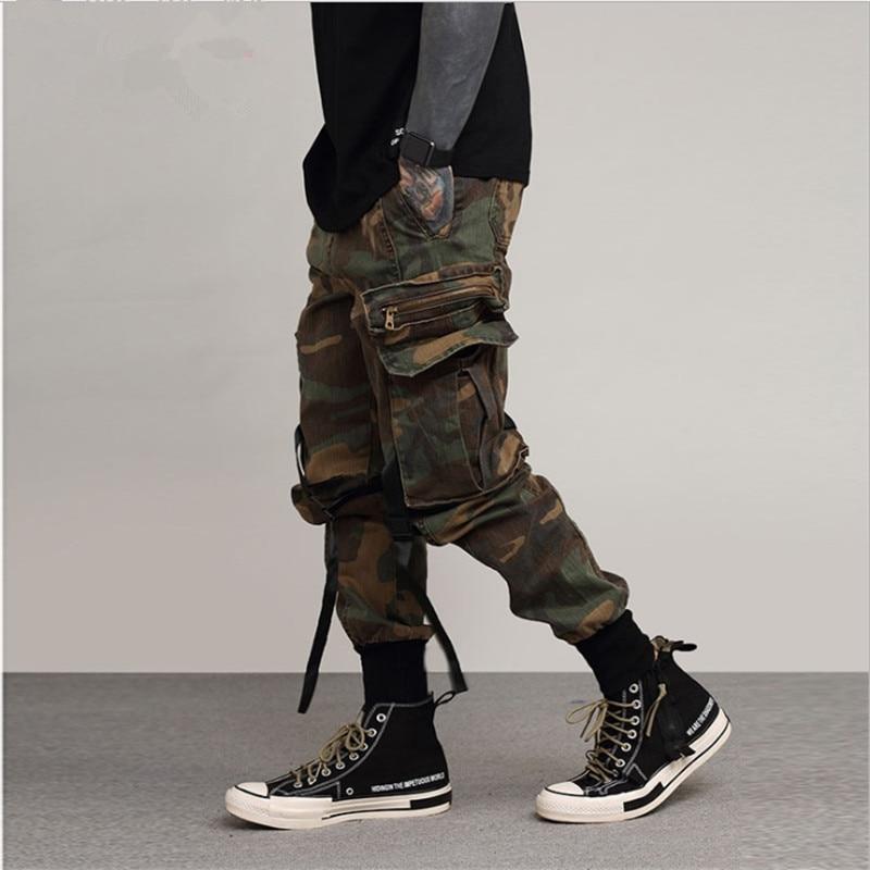 Pantalones casuales tipo Harem para hombre, pantalones militares tácticos lavados, pantalón de hip hop para hombre, bolsillos laterales, Pantalón Cargo de camuflaje Vintage