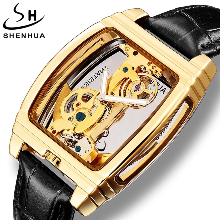 Reloj mecánico automático transparente Turbillon Steampunk esqueleto de lujo Tourbillon masculino relojes reloj montre homme