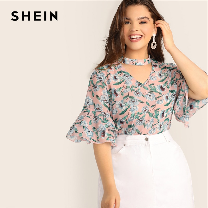 SHEIN, gargantilla de talla grande con corte en V, blusa Top con estampado Floral y manga de mariposa, blusas casuales de verano de media manga para mujer 2019