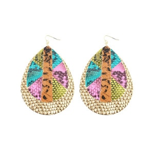 Snake Skin PU Leather Drop Earrings For Women Statement Big Boho Gold Silver Color Colorful Dangle Earring Jewelry Female
