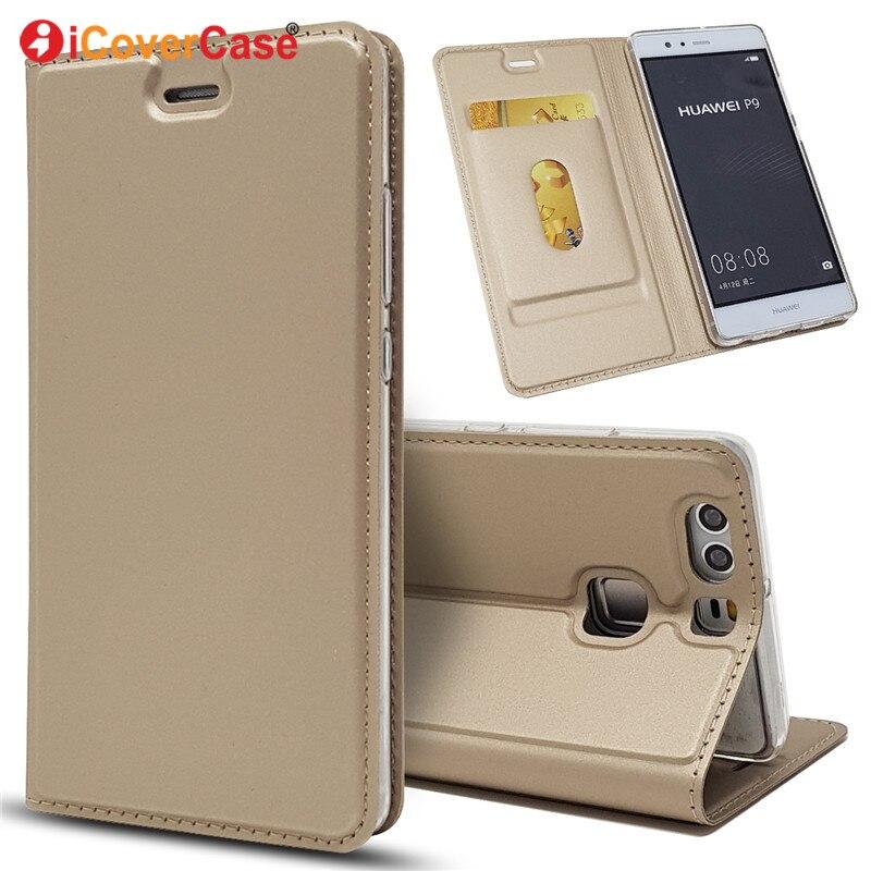 Moda carcasa Flip de cuero casos de la cubierta para Huawei P9 P 9 caso accesorios del teléfono móvil bolsa estuche ranura de la tarjeta de soporte EVA L09 L19 L29