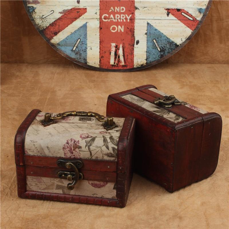 Caja de madera antigua de la joyería pequeña caja de almacenamiento Nostalgia estilo de mapa occidental clásica caja de madera portátil