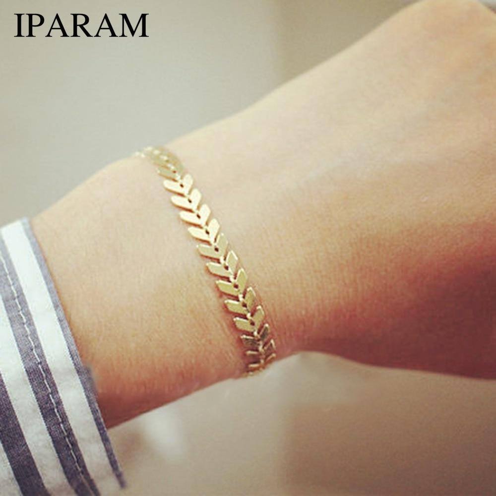 Iparam simples ouro prata cor seta corrente pulseira para as mulheres do vintage geometria punk lantejoulas pulseira boêmio jóias atacado