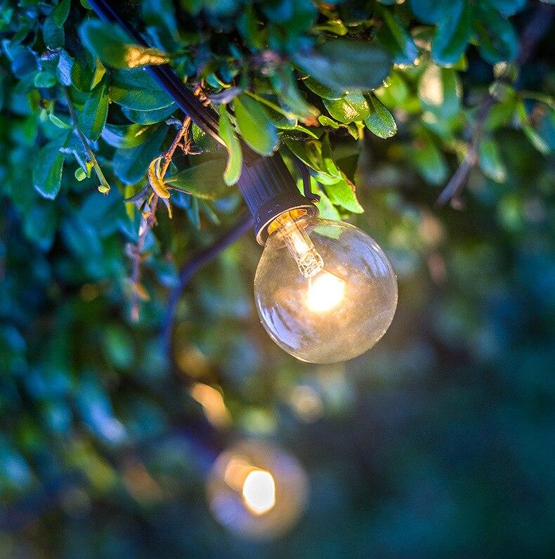 25 uds. Lámpara G40 globo transparente candelabro Base de tornillo caliente incandescente repuesto vidrio claro lámpara led para G40 LED Cadena de luz