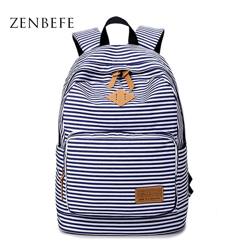 Mochila con rayas ZENBEGE, mochila escolar para adolescentes, mochila para ordenador portátil, mochila con impresión, mochila informal, bolsa de viaje, Mochilas