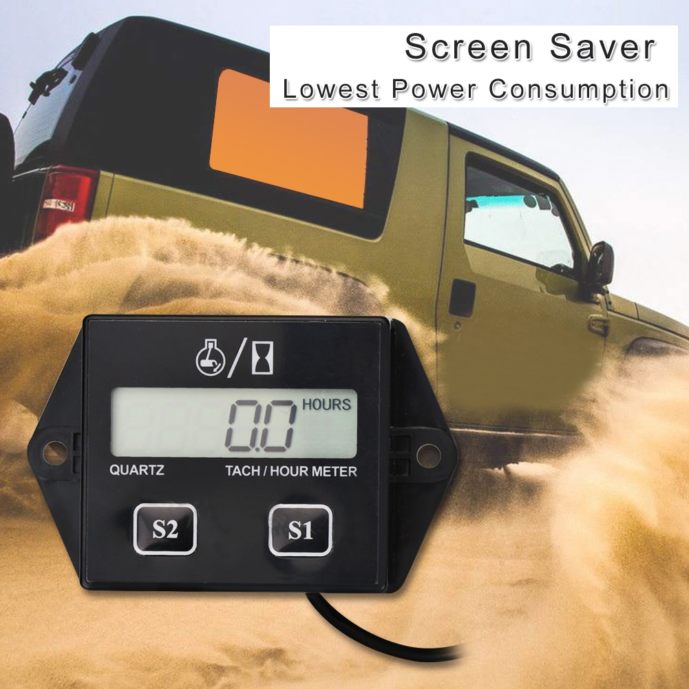 Digital Engine Tachometer Tach Hour Meter Digital Tachometer Gauge Inductive Rpm Meter Motorcycle LCD Display For Motor Car Boat durable dt2234c digital laser counter meter non contact tachometer rev rpm counter for testing engine rotation speed gauge tools