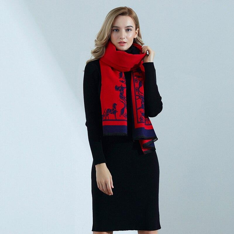 Lenço de caxemira de alta qualidade senhoras outono inverno moda carruagem impressão grosso longo cachecol de caxemira xale feminino envoltórios