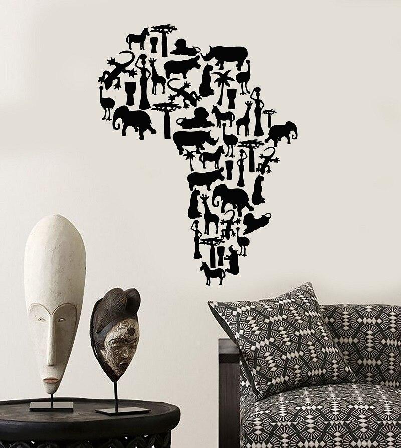 Vinilo aplique de pared Continente africano mapa animal naturaleza pegatina, decoración de la sala de estar del hogar África mapa DT05