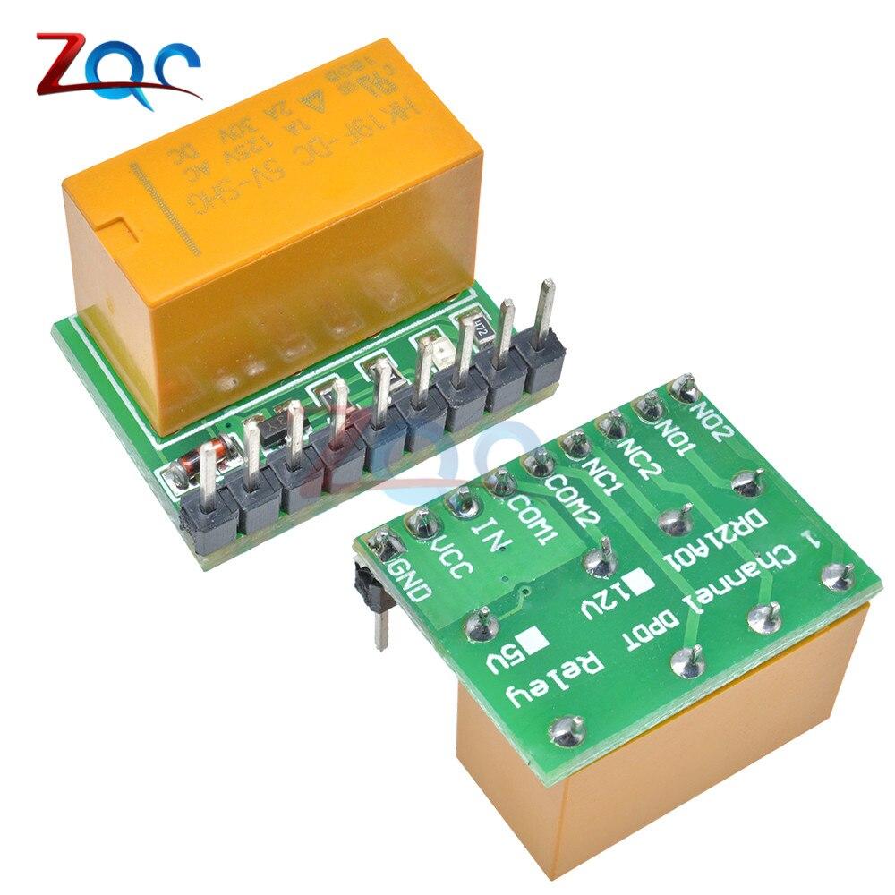 Mini Canal 1 5 V DC Placa de Relé Módulo de Switch Duplo pólo duplo lance DPDT HK19F PCB para Arduino framboesa pi