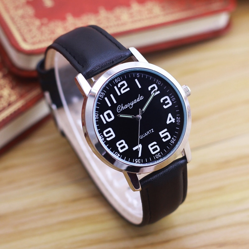 2019 chaoyada simple old women men father mother holiday gifts leather strap quartz watches luminous hands electronic clocks