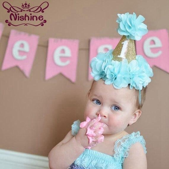 Nishine, sombreros de primera fiesta de cumpleaños, accesorios para foto del grupo de recién nacido, corona de princesa, diadema elástica con flores, bonito regalo