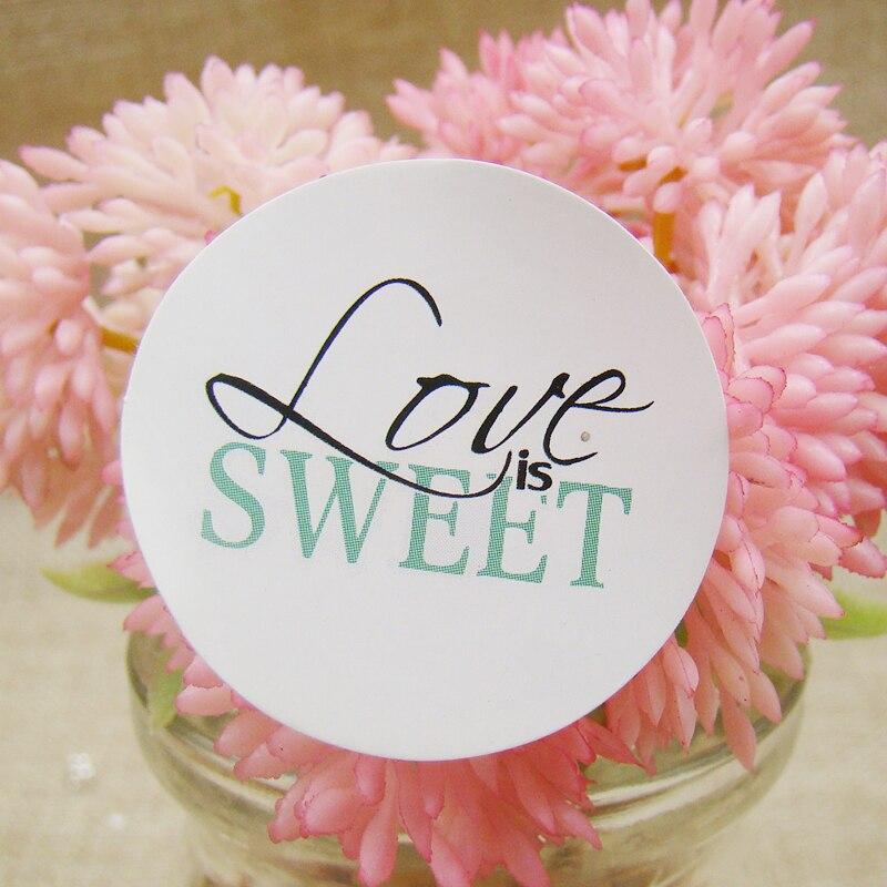"""100 unids/lote 3cm """"Love is Sweet"""" etiquetas adhesivas redondas blancas etiquetas de papel sellado álbum de recortes para regalo/hornear/caja/joyería/pastel"""