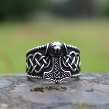 Viking Mjolnir Thor's Hammer Celtic Knot Ring Mens Nordic lion Stainless Steel Rings Amulet Jewelry