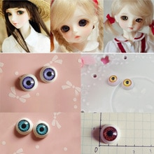 1 pares de diâmetro 12mm boneca olhos meio redondo acrílico olhos para diy boneca urso artesanato bonecas acessórios 5 cores