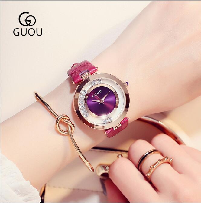 GUOU reloj de pulsera de lujo brillo diamante reloj mujer relojes de moda de las mujeres, reloj montre femme bayan kol saati