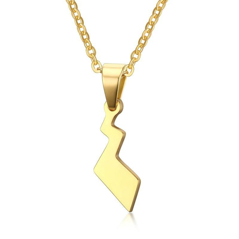 Cute Gold Stainless Steel Pokemon Pikachu Tail Pendant Long Chain Necklace Choker for Women Man Fashion Jewelry