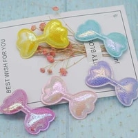 30pcslot 6 43 8cm pu bowknot pads patches appliques for craft clothes sewing supplies diy hair clip accessories