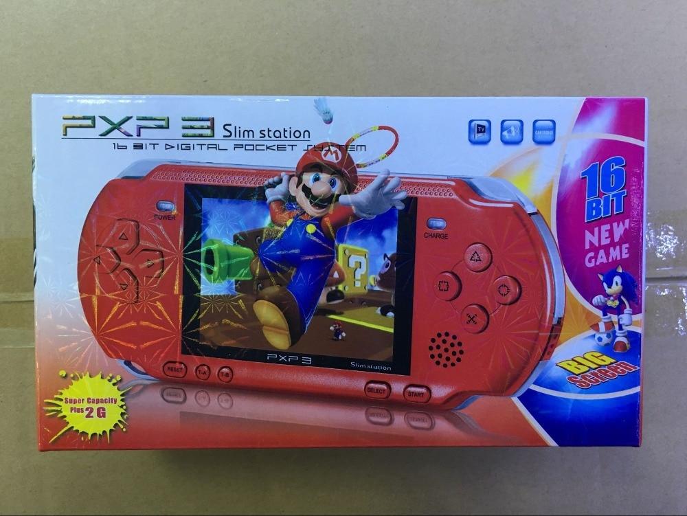 3 pulgadas 16 poco PXP3 mando de juegos de vídeo juego de consola con Cable AV + 2 tarjetas de juego clásico de 150 juegos de niño juego de los jugadores