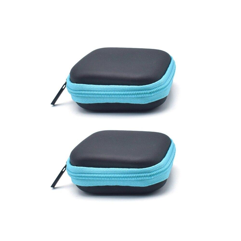 2pcs/lot Portable Zipper Earphone Storage Bag Headphone Box Zipper Carry Hard Bag Case For Earphone Accessories USB Data Cable