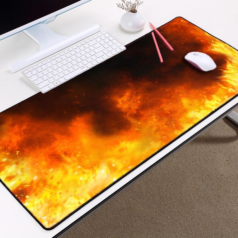 Alfombrilla Mairuige para mesa de escritorio con efectos de llama, para juegos, tamaño grande, alfombrilla de goma antideslizante