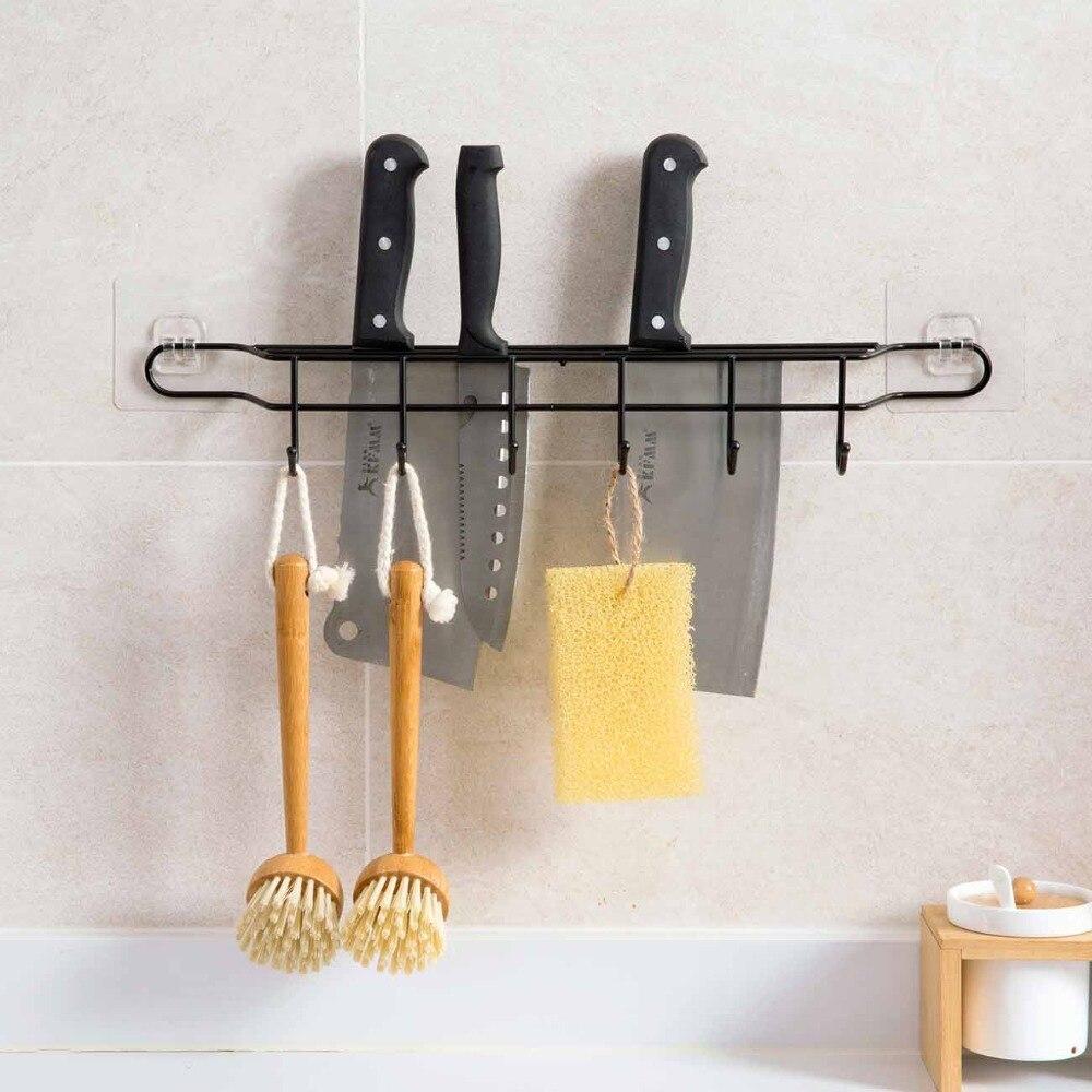 Estante de almacenamiento de cocina de OTHERHOUSE, estante para cuchillos, bloque de soporte con ganchos, soporte de cocina montado en pared de hierro, accesorios de cocina