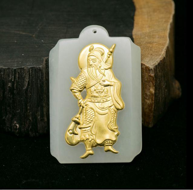 Completa con incrustaciones de oro colgante de jade hombres y nebazu caer el público colgante Wu Choi Dios colgante de jade collar con un certificado