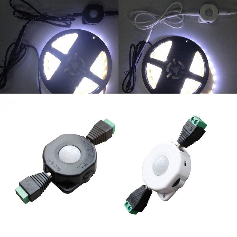 12 v 24 v automático luz infravermelho pir corpo detector de movimento infravermelho sensor interruptor + 2dc conector novo 2018
