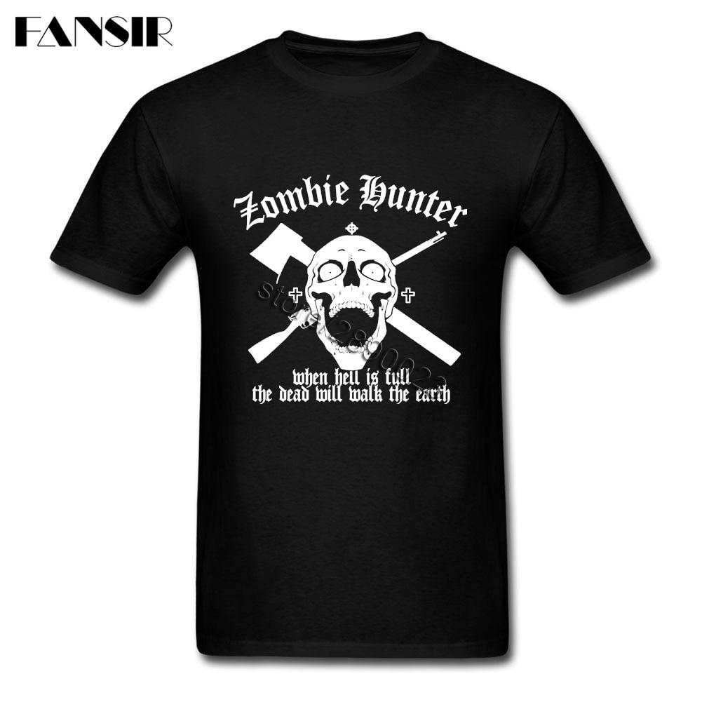 Zombie Hunter Camiseta de manga corta para hombre camisetas de diseño de algodón cuello redondo Hombre camiseta para equipo