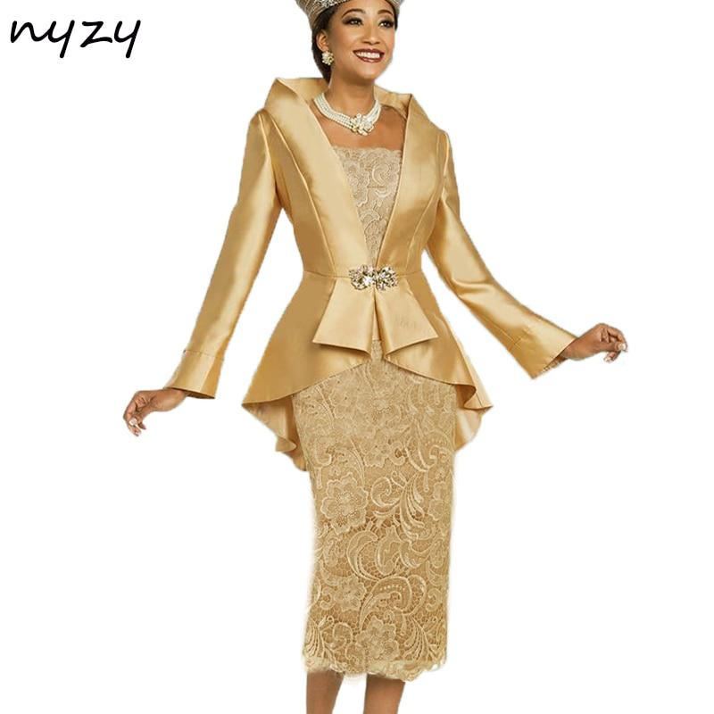 NYZY-فستان أم العروس مع جاكيت ، ملابس أنيقة بسيطة لأم العروس ، ملابس زفاف بوليرو ، ذهبي ، رمادي وأزرق ، 2019