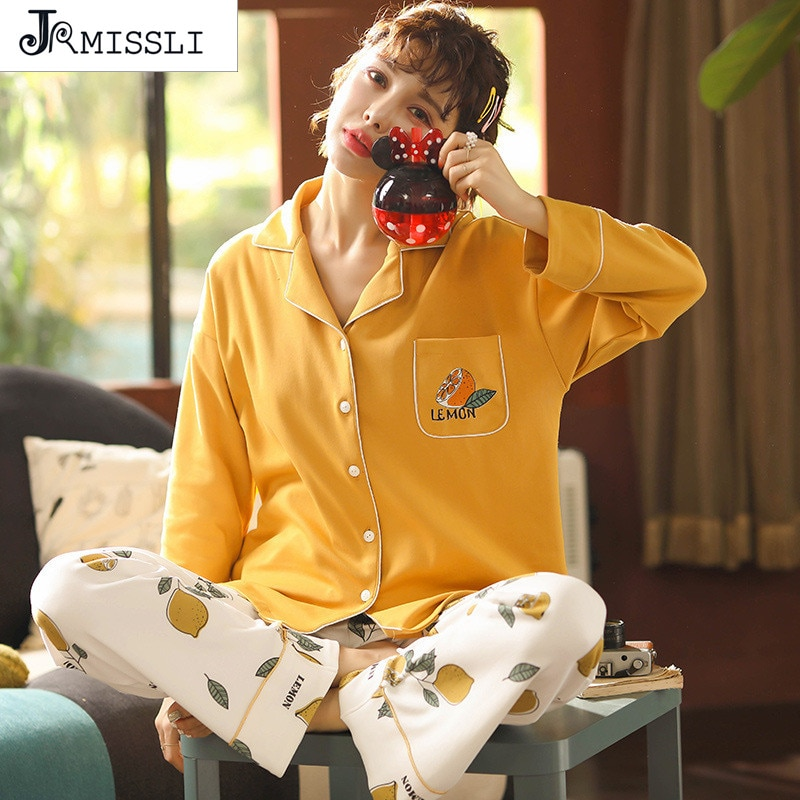 JRMISSLI otoño nuevo pijama de mujer con estampado de limón pijama de mujer pijama de algodón pijama de mujer talla grande