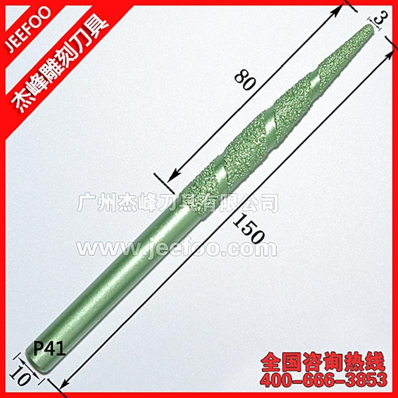 P41-10 * 3*80 مللي متر V الشكل CNC حفر الحجر طحن بت ، الماس نهاية مطحنة القواطع بت ل CNC 3d الإغاثة التخشين طحن إلكتروني