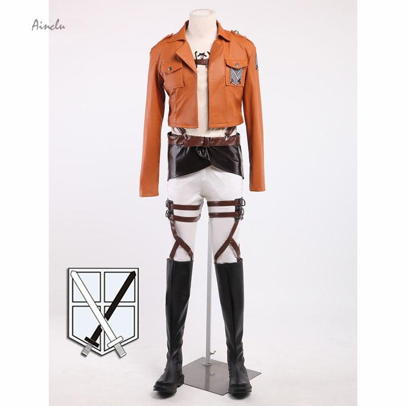 Ainc-سترة جلدية قصيرة للبالغين ، ملابس تنكرية للهالوين ، شخصية للبالغين ، هجوم جديد على Titan Cosplay Shingeki No Kyojin Armin Arlart