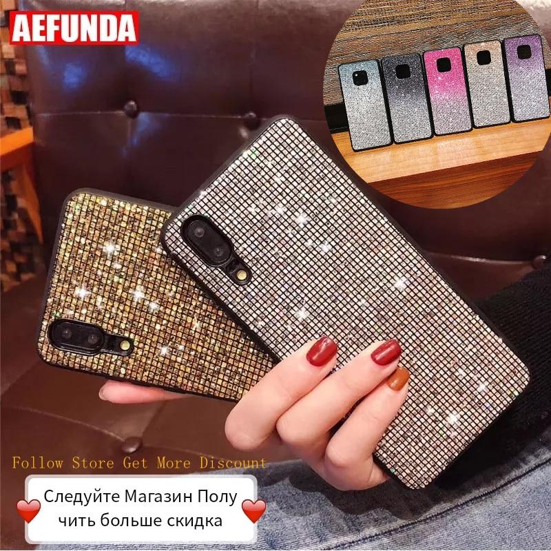 For Huawei P30 P20 Mate 20 Pro Lite Case Y6 Y7 P Smart 2019 Case Honor 10i 10 20 Lite 8X Cases Luxury Glitter Diamond Silicone