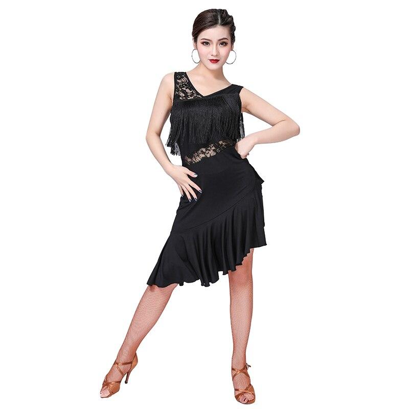 Vestidos latinos de uma peça irregular do laço do elastano da classe das franjas da parte dianteira do uso do samba da salsa da roupa da dança das mulheres baratos para meninas