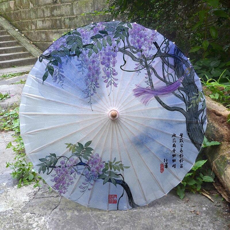 Luzhou, paraguas de papel engrasado para lluvia, protector solar de bambú para mujeres, decoración clásica de Jiangnan Cos, parasol azul y blanco de porcelana Hanfu