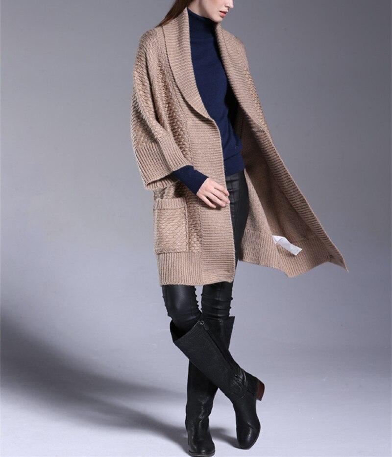 Mistura de lã de alpaca da malha da forma das mulheres elegante boutique longo cardigan casaco camisola 3 manga trimestre one & sobre tamanho