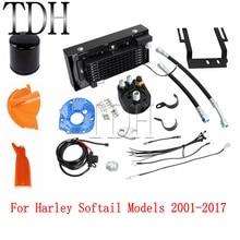 블랙 크롬 오토바이 오일 쿨러 팬 시스템 라디에이터 Harley Softail Fat Boy FLST FXST 2001-2017