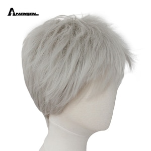 ANOGOL  Jack Frost Rise of the Guardians Silver Grey High temperature fiber Synthetic Cosplay Wigs For Halloween Party Hair