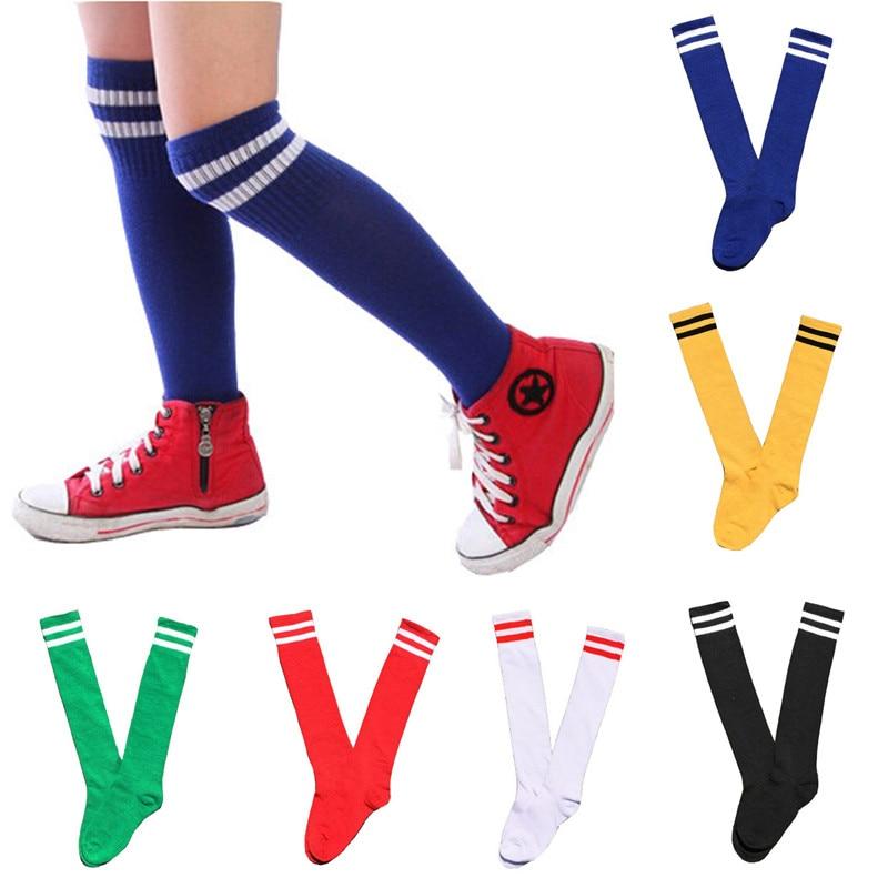 Kinder Kniestrümpfe Baumwolle Lange Student Schule Socken Mädchen jungen Football Striped 2 Retro Old School Sport Socken Fußball Hockey