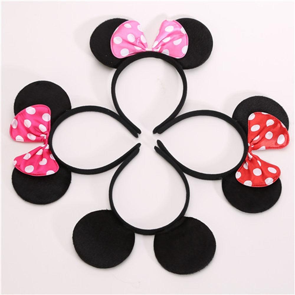 1pc Lovely Girls Bows Knot Minnie Mickey Ears Baby Hair Accessories Headband Kids Boys Happy Birthda