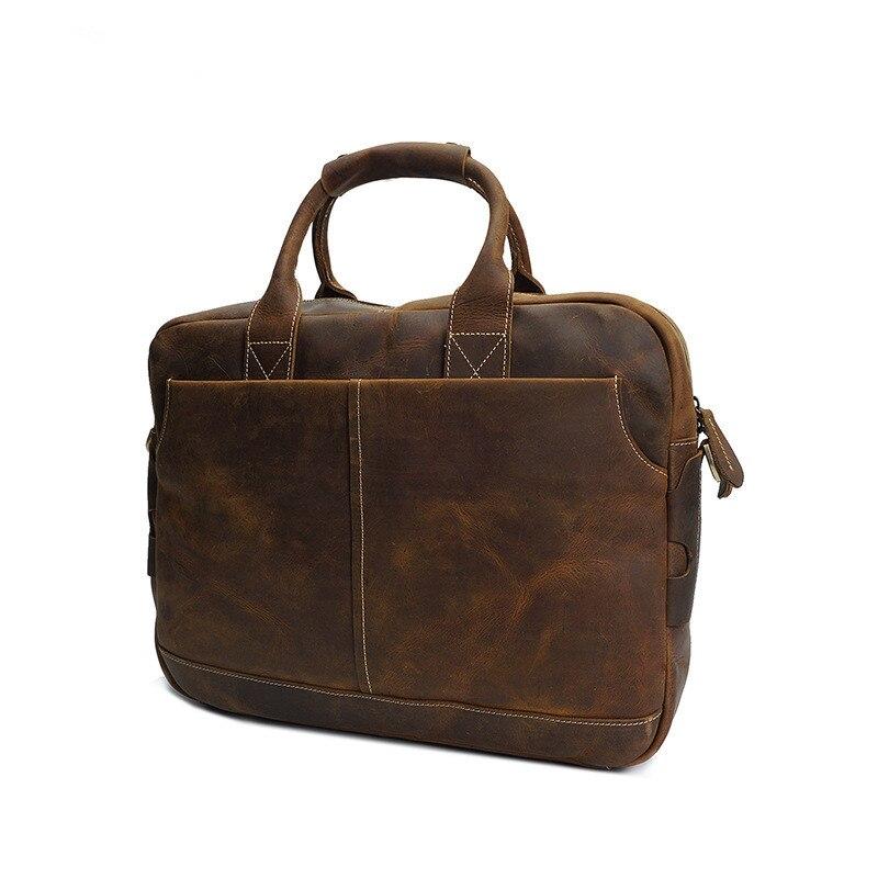 كريزي هورس-حقيبة كتف جلدية للرجال ، حقيبة كتف 17 بوصة ، حقيبة كمبيوتر محمول عتيقة ، حقيبة سفر