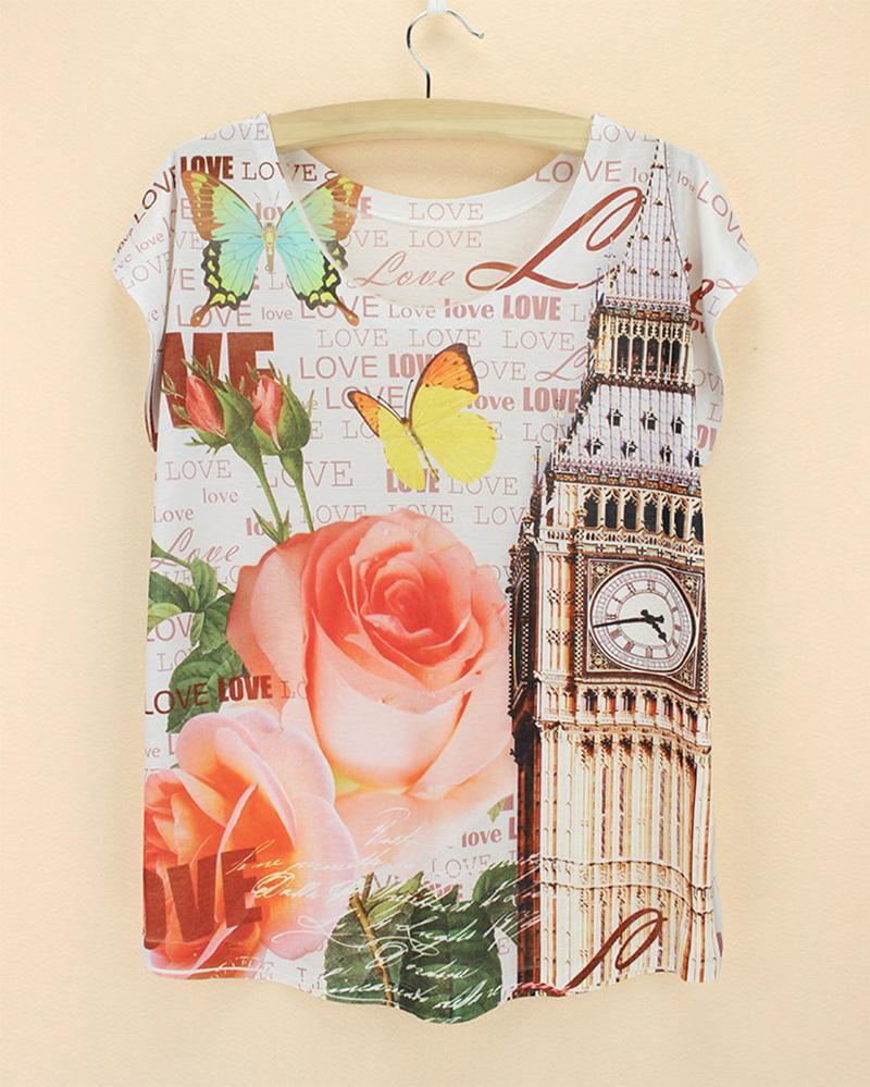 El más nuevo diseño Big Ben patrón camiseta mujeres 2015 verano tee niñas novedad impresión camiseta más tamaño mujeres top camisetas envío de la gota