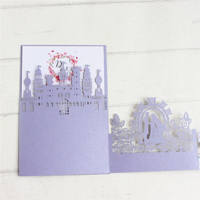 3D Pop up hochzeit einladungen Cinderella laser cut ehe karte weding geschenk karten 50 teile/los