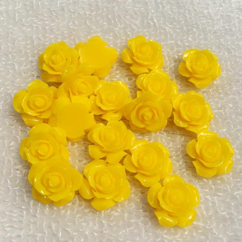 30pcs/pack 15mm 3D Resin Rose Flower Flat Back Cabochon Scrapbook Resin Embellishment Jewelry Making Nail Decoration -B022