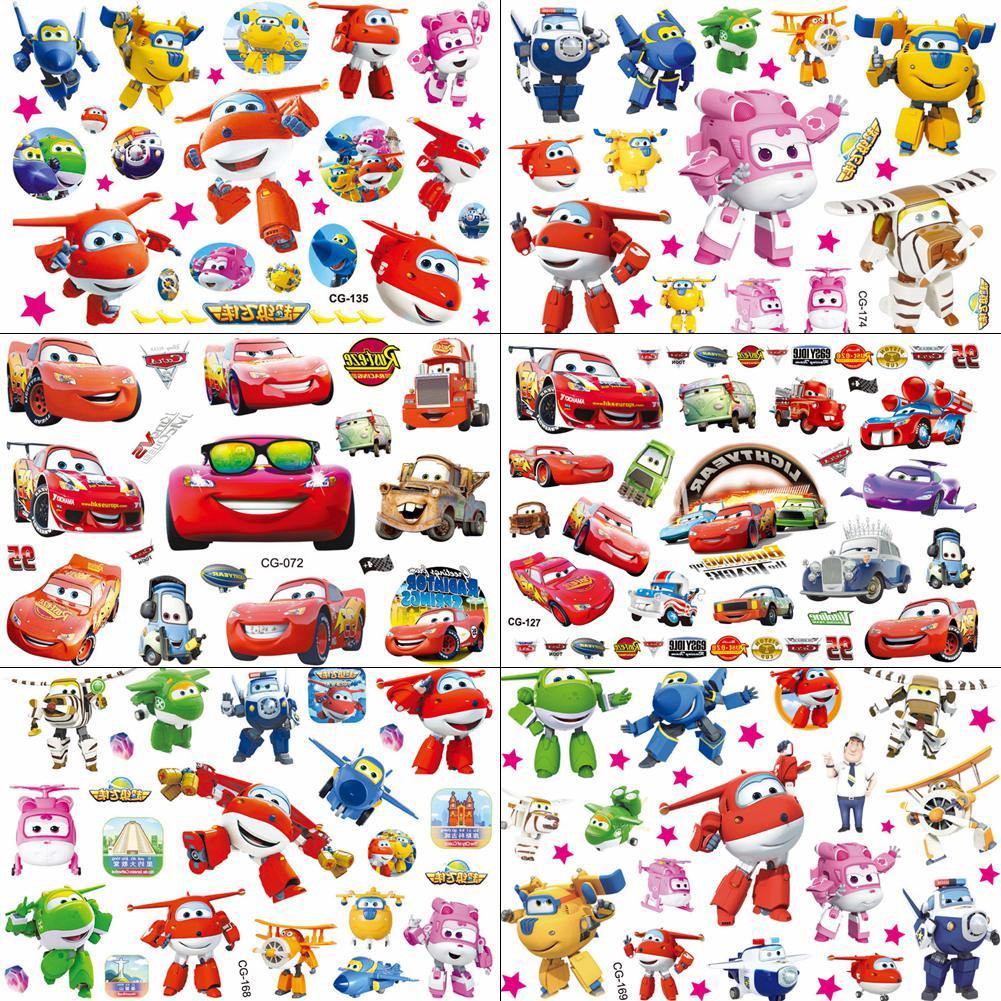 Tatuajes QUCIOUS desechables de superalas de dibujos animados temporales para niños, tatuaje arte corporal, pegatina Flash, coches de carreras, Avión de tatuaje DIY