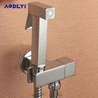 aodeyi brass hand held bidet shower set free perforating toilet jet cleaner portable bidet spray shower head and 1 2m hose
